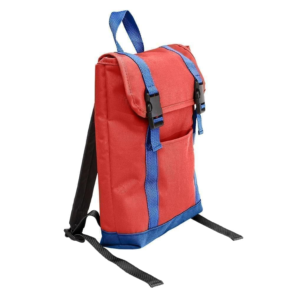USA Made Canvas Small T Bottom Backpacks, Red-Royal, 2001921-AE3