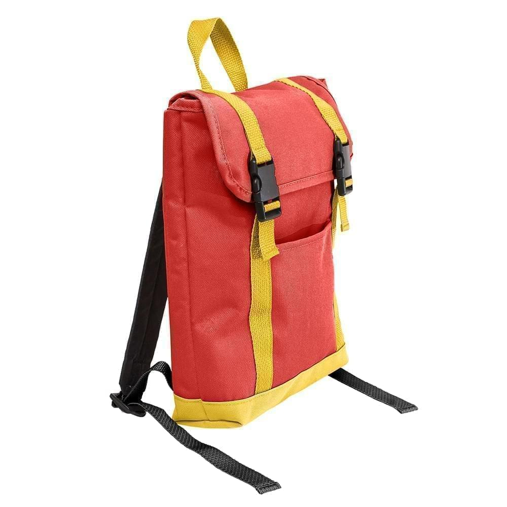 USA Made Canvas Small T Bottom Backpacks, Red-Gold, 2001921-AE5