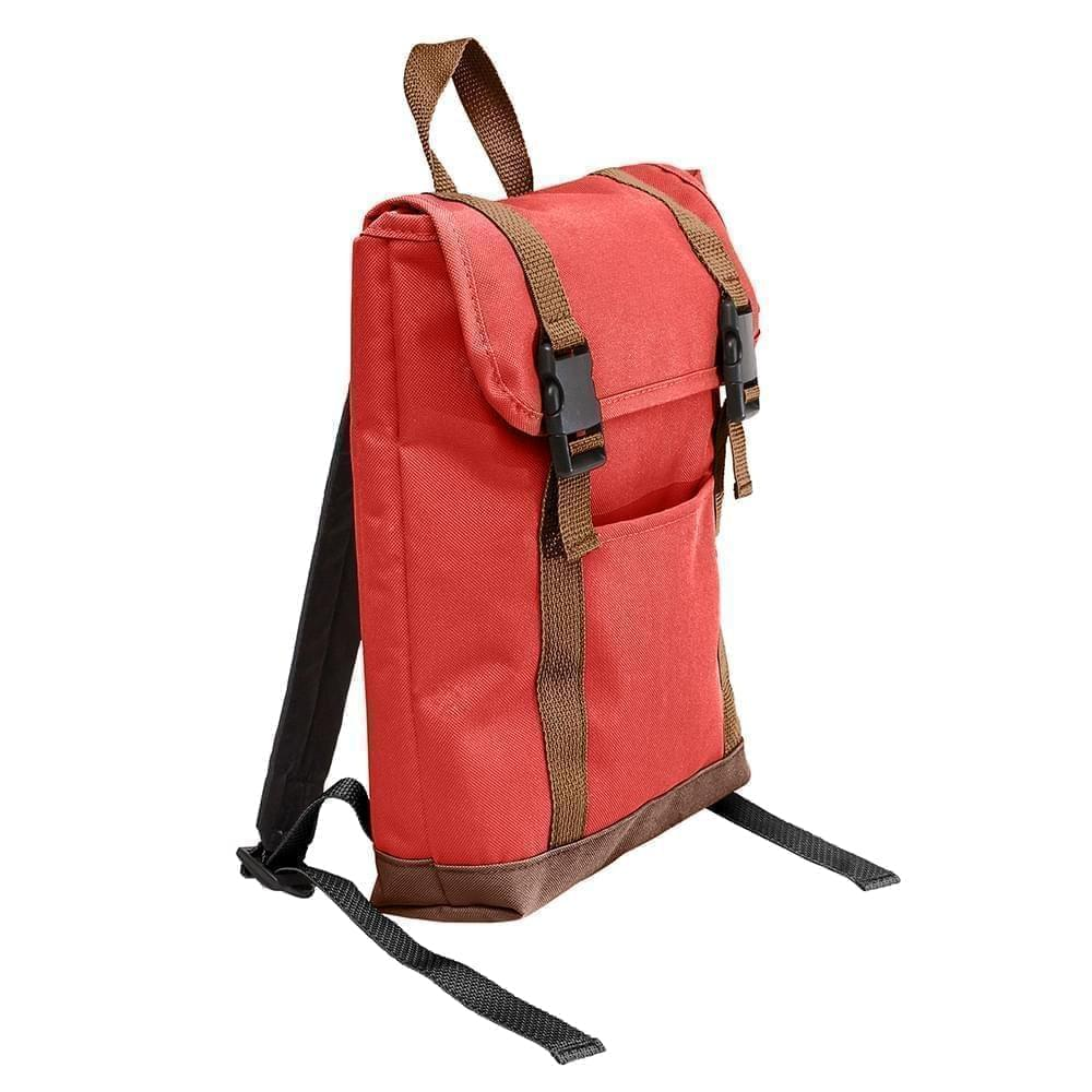 USA Made Canvas Small T Bottom Backpacks, Red-Brown, 2001921-AES