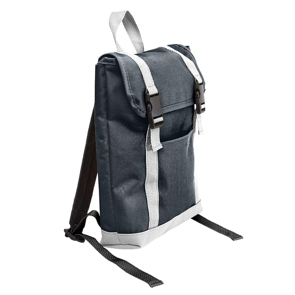 USA Made Canvas Small T Bottom Backpacks, Black-White, 2001921-AH4