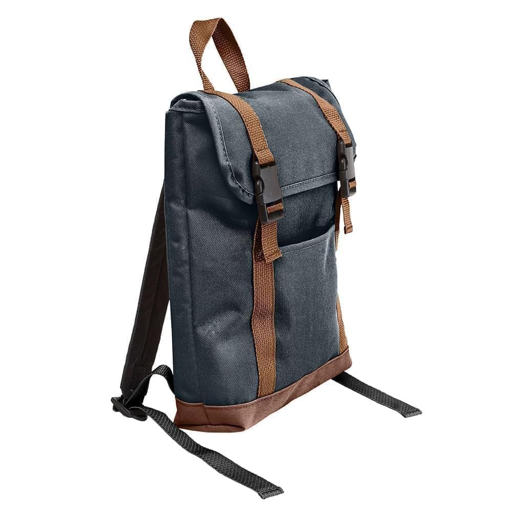 USA Made Canvas Small T Bottom Backpacks, Black-Brown, 2001921-AHS