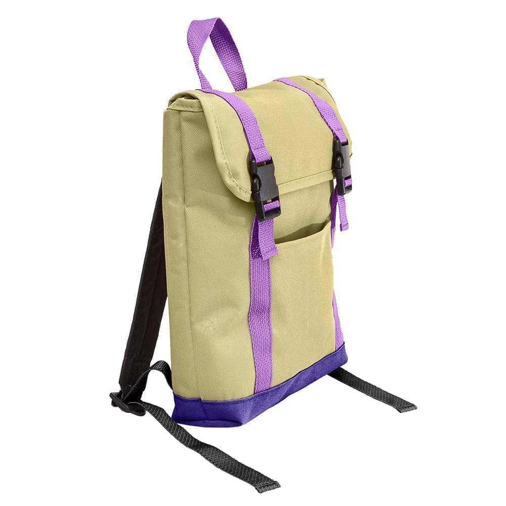 USA Made Canvas Small T Bottom Backpacks, Natural-Purple, 2001921-AK1