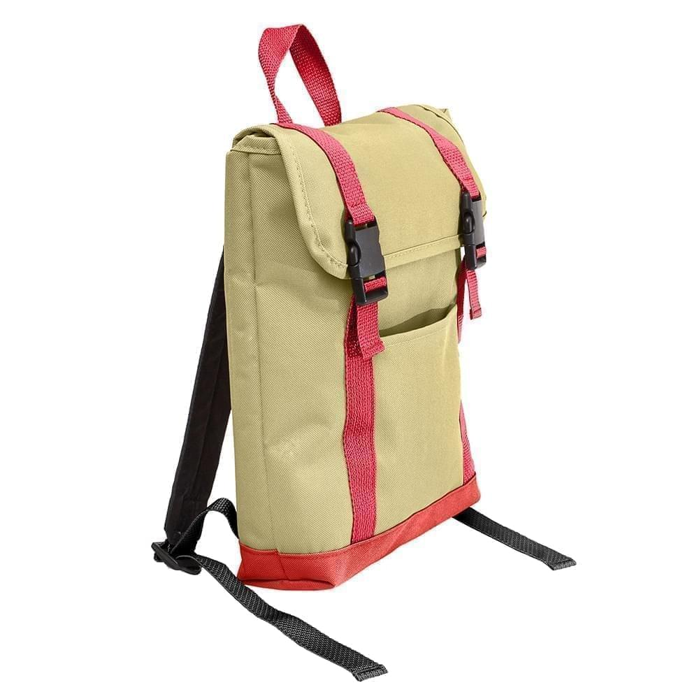 USA Made Canvas Small T Bottom Backpacks, Natural-Red, 2001921-AK2