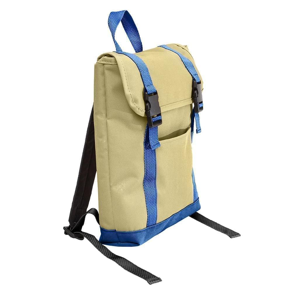 USA Made Canvas Small T Bottom Backpacks, Natural-Royal, 2001921-AK3