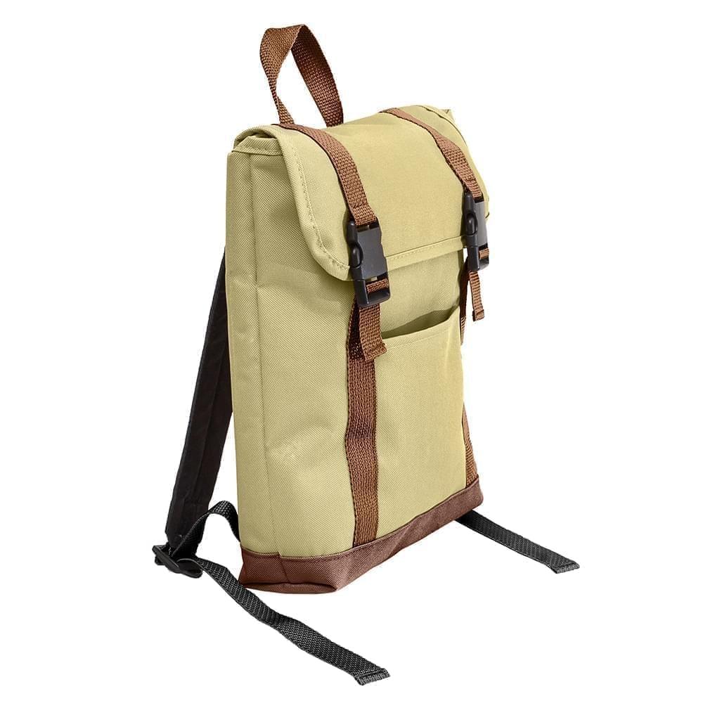 USA Made Canvas Small T Bottom Backpacks, Natural-Brown, 2001921-AKS