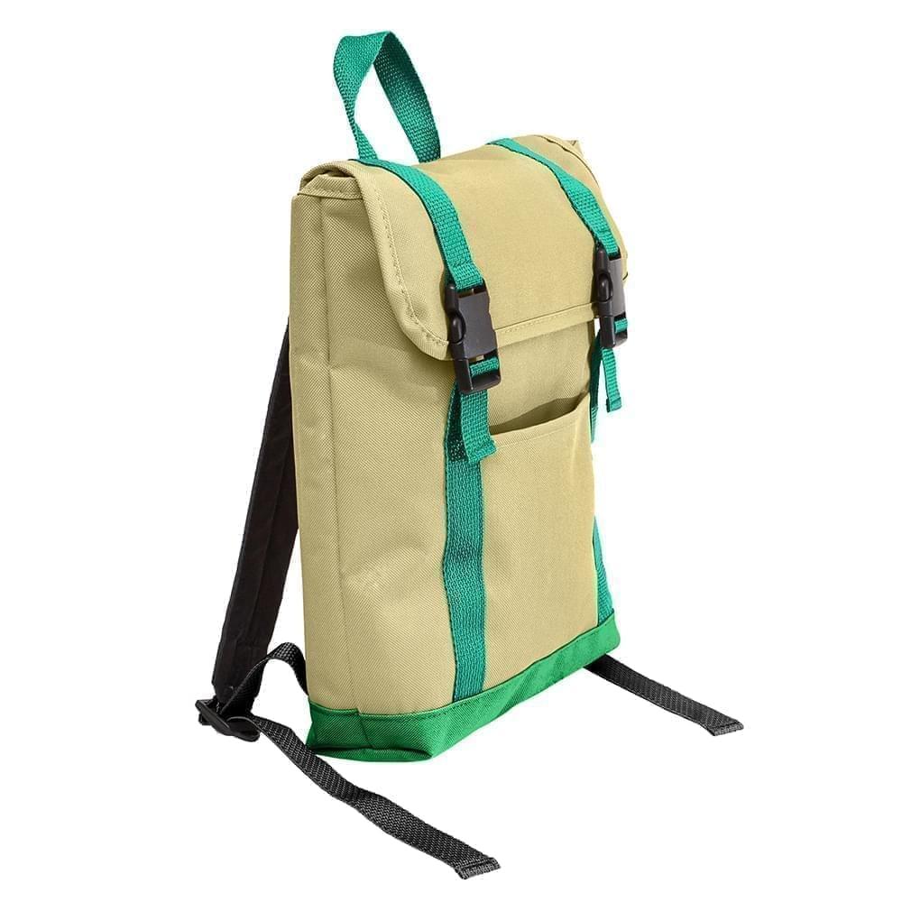USA Made Canvas Small T Bottom Backpacks, Natural-Kelly, 2001921-AKW