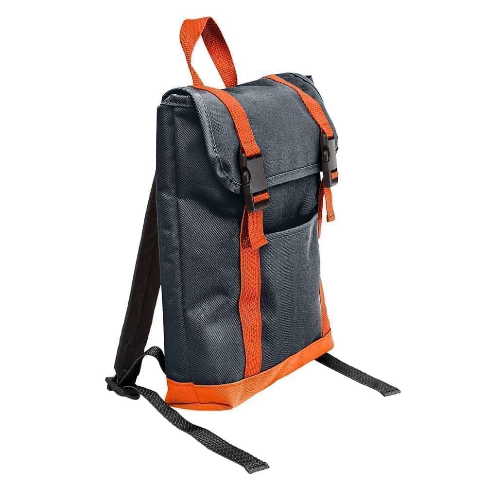 USA Made Poly Small T Bottom Backpacks, Black-Orange, 2001921-AO0