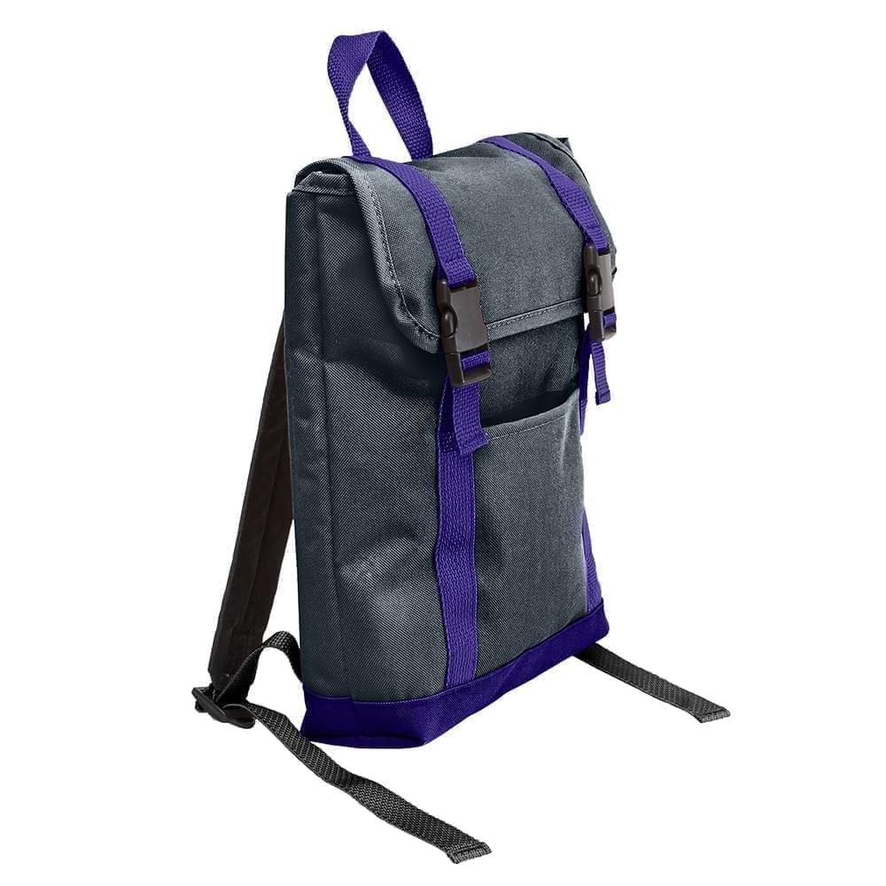 USA Made Poly Small T Bottom Backpacks, Black-Purple, 2001921-AO1