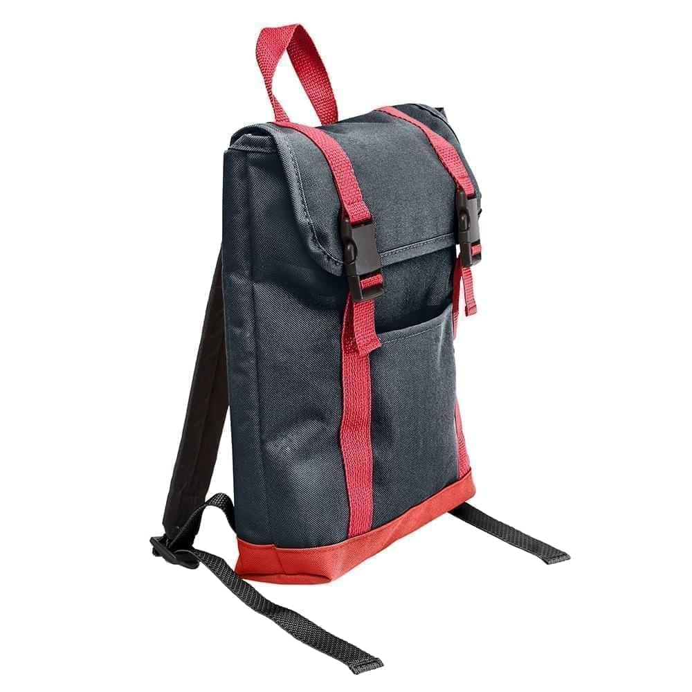 USA Made Poly Small T Bottom Backpacks, Black-Red, 2001921-AO2