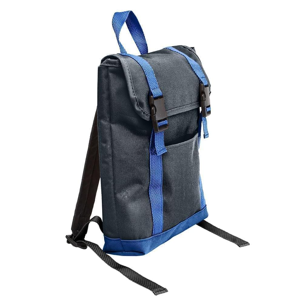 USA Made Poly Small T Bottom Backpacks, Black-Royal, 2001921-AO3