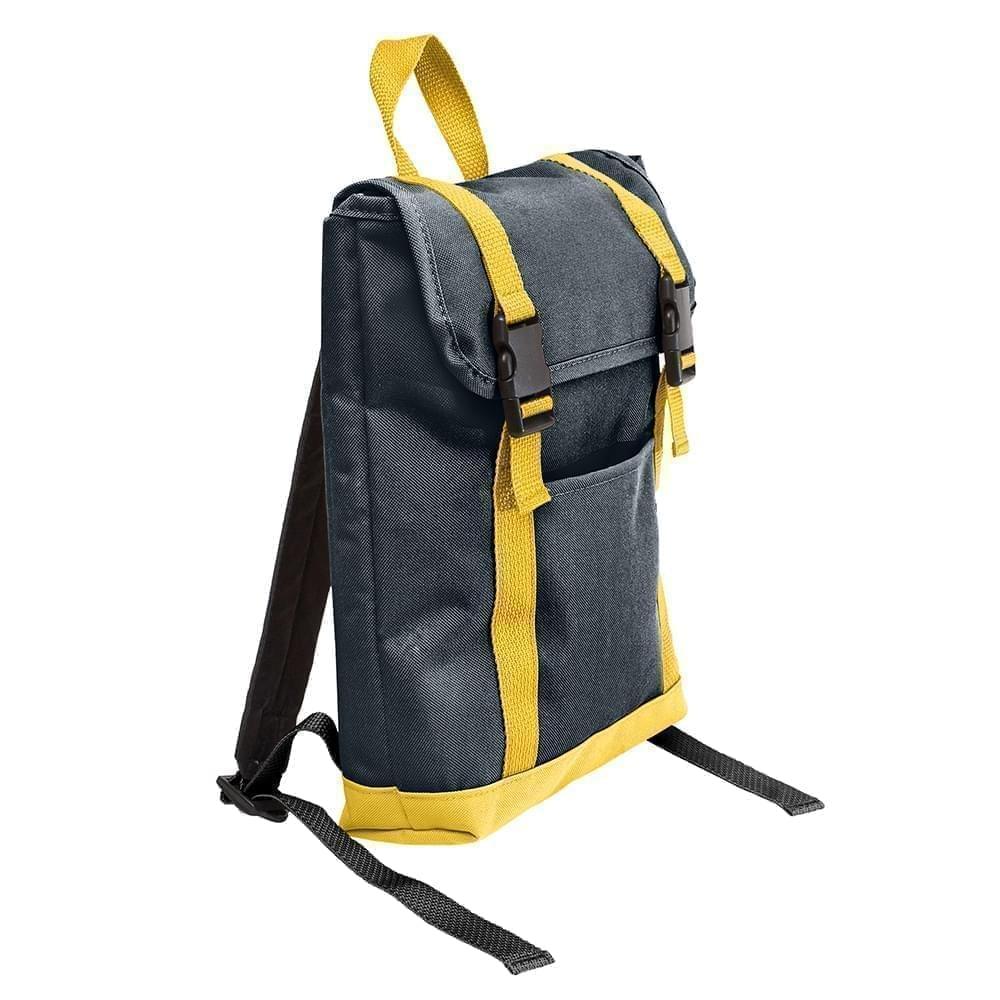 USA Made Poly Small T Bottom Backpacks, Black-Gold, 2001921-AO5
