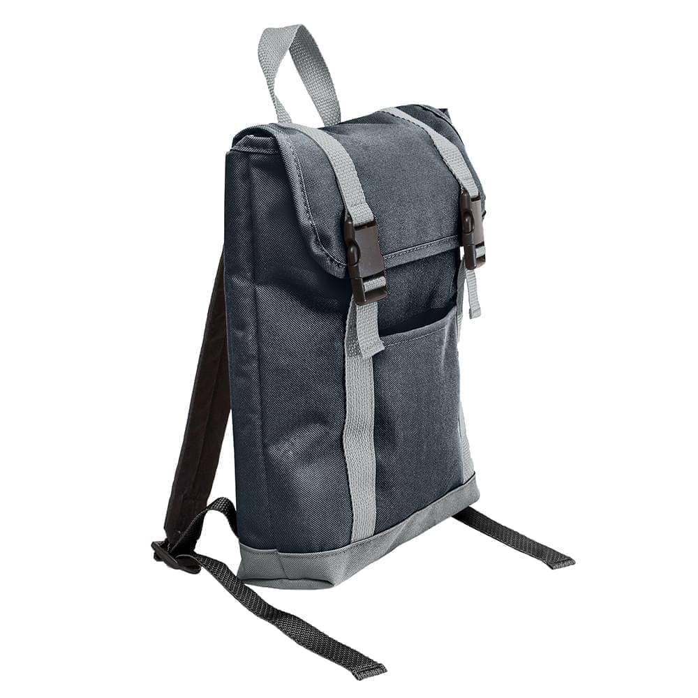 USA Made Poly Small T Bottom Backpacks, Black-Gray, 2001921-AOU