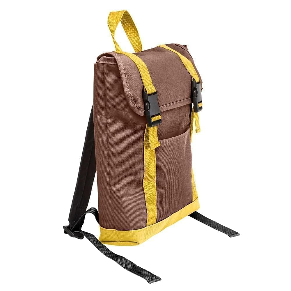USA Made Poly Small T Bottom Backpacks, Brown-Gold, 2001921-AP5