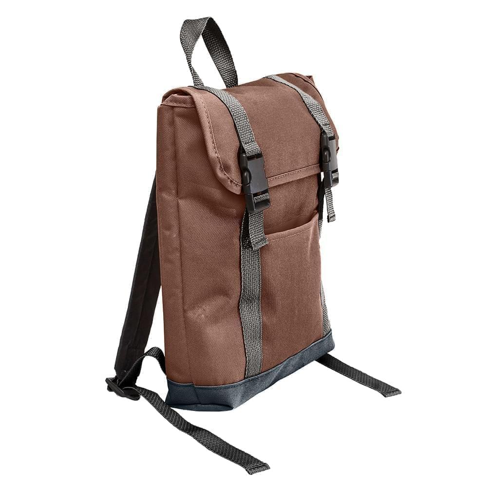USA Made Poly Small T Bottom Backpacks, Brown-Black, 2001921-APR