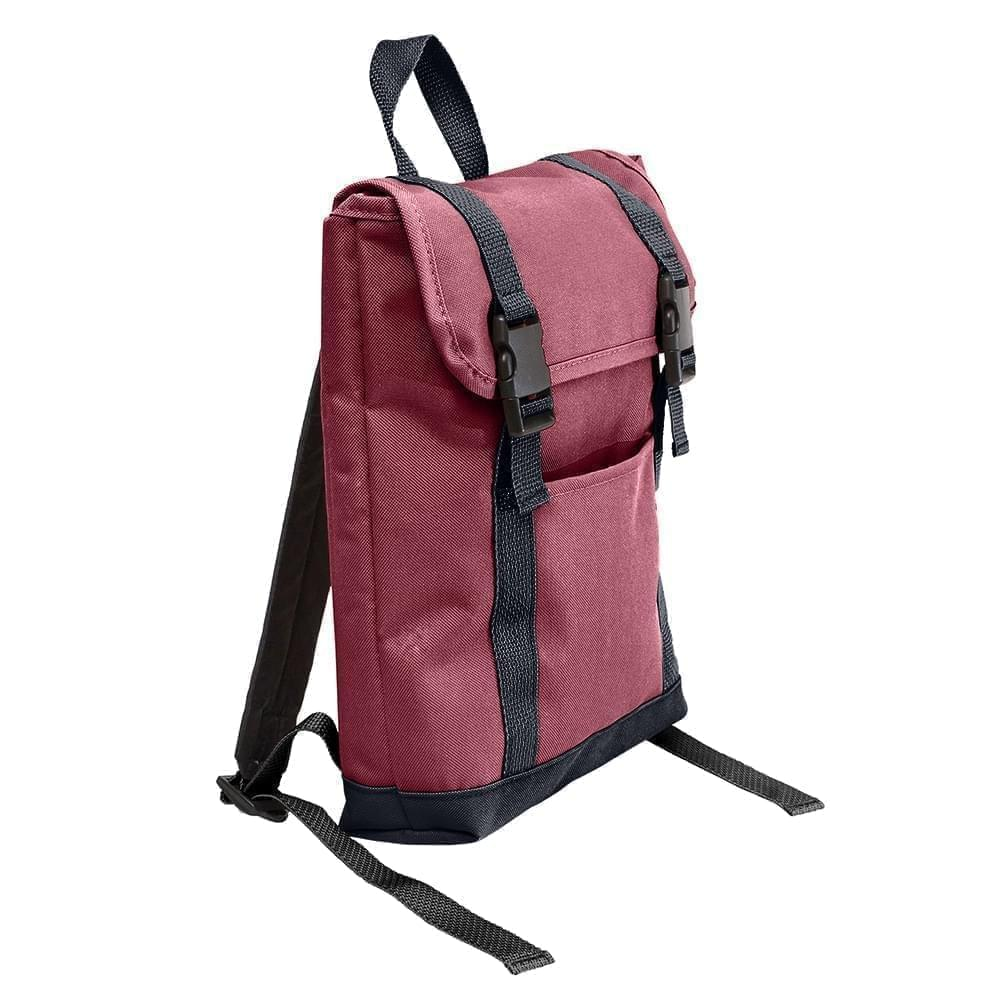 USA Made Poly Small T Bottom Backpacks, Burgundy-Graphite, 2001921-AQT