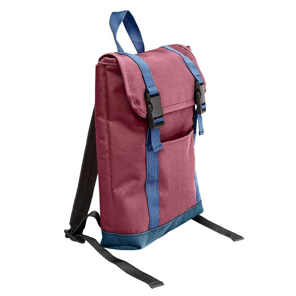 USA Made Poly Small T Bottom Backpacks, Burgundy-Navy, 2001921-AQZ