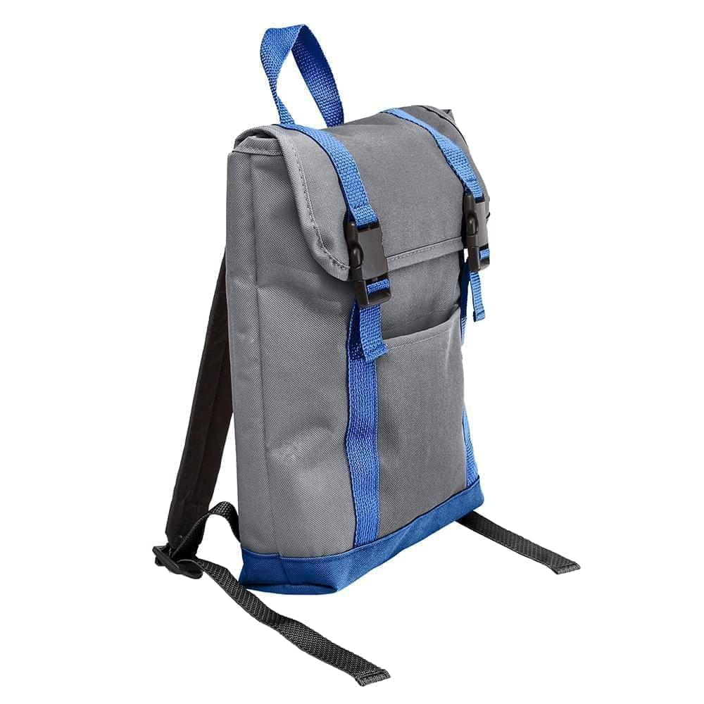 USA Made Poly Small T Bottom Backpacks, Graphite-Royal, 2001921-AR3