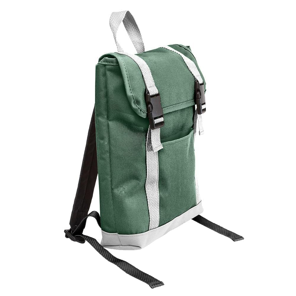 USA Made Poly Small T Bottom Backpacks, Hunter-White, 2001921-AS4