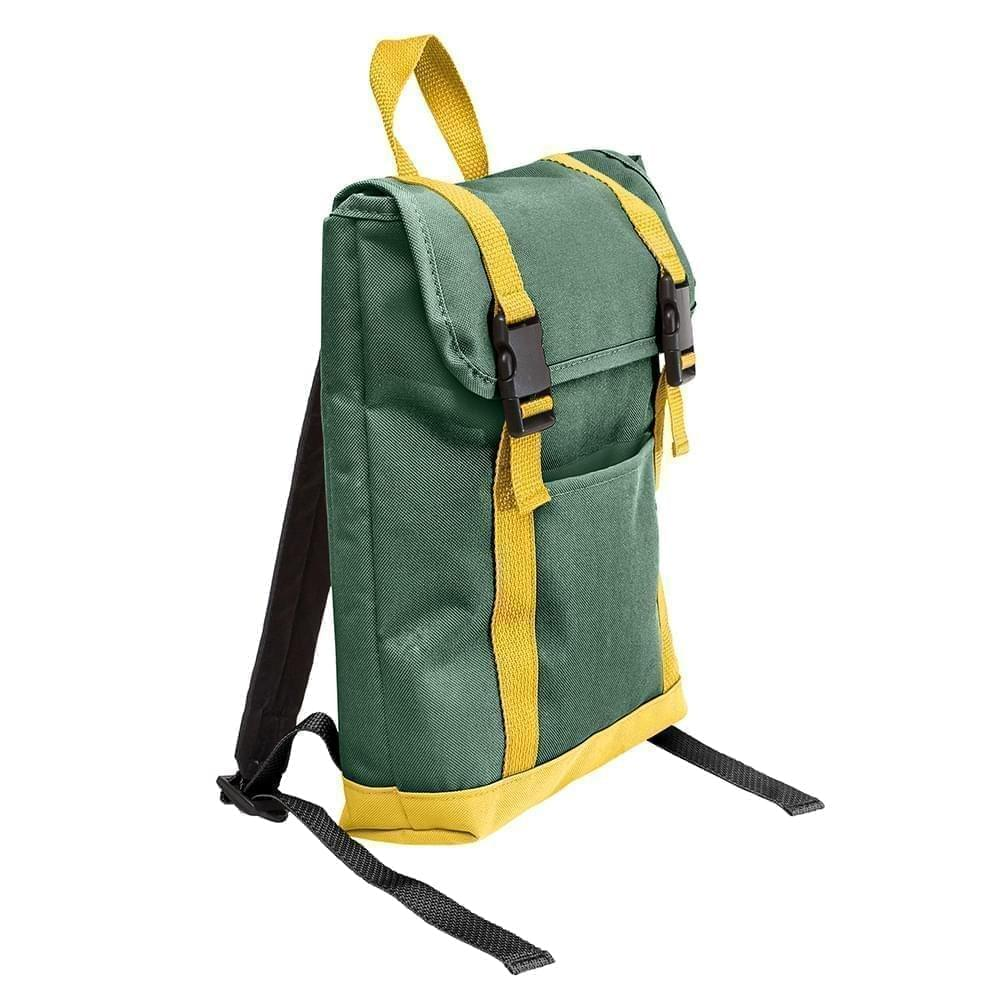 USA Made Poly Small T Bottom Backpacks, Hunter-Gold, 2001921-AS5