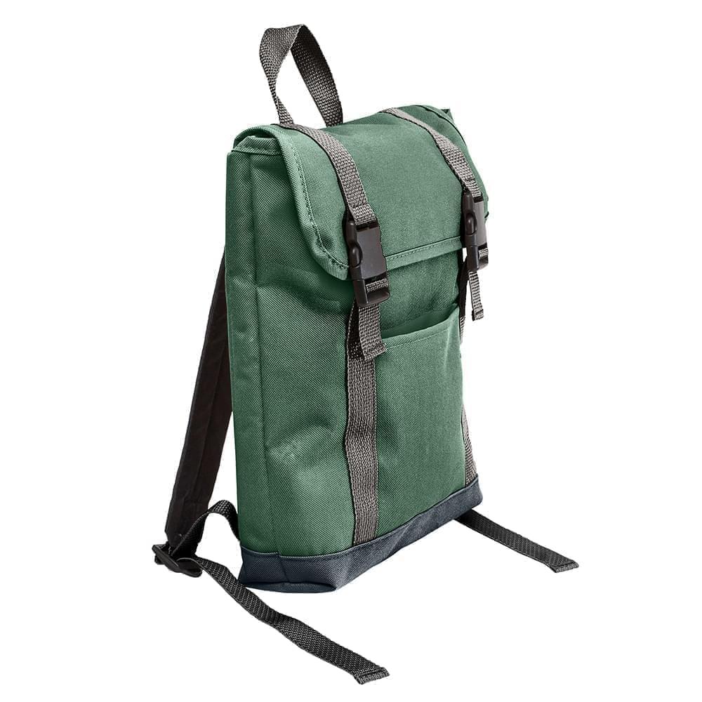 USA Made Poly Small T Bottom Backpacks, Hunter-Black, 2001921-ASR