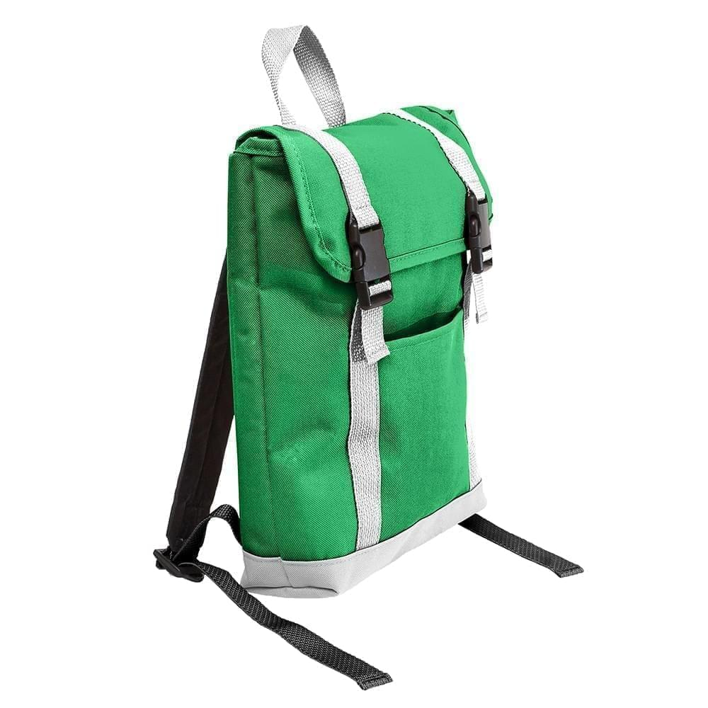USA Made Poly Small T Bottom Backpacks, Kelly-White, 2001921-AT4