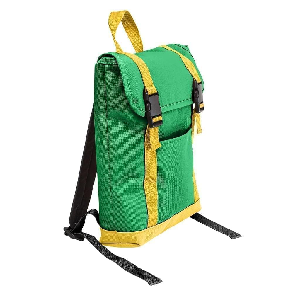 USA Made Poly Small T Bottom Backpacks, Kelly-Gold, 2001921-AT5
