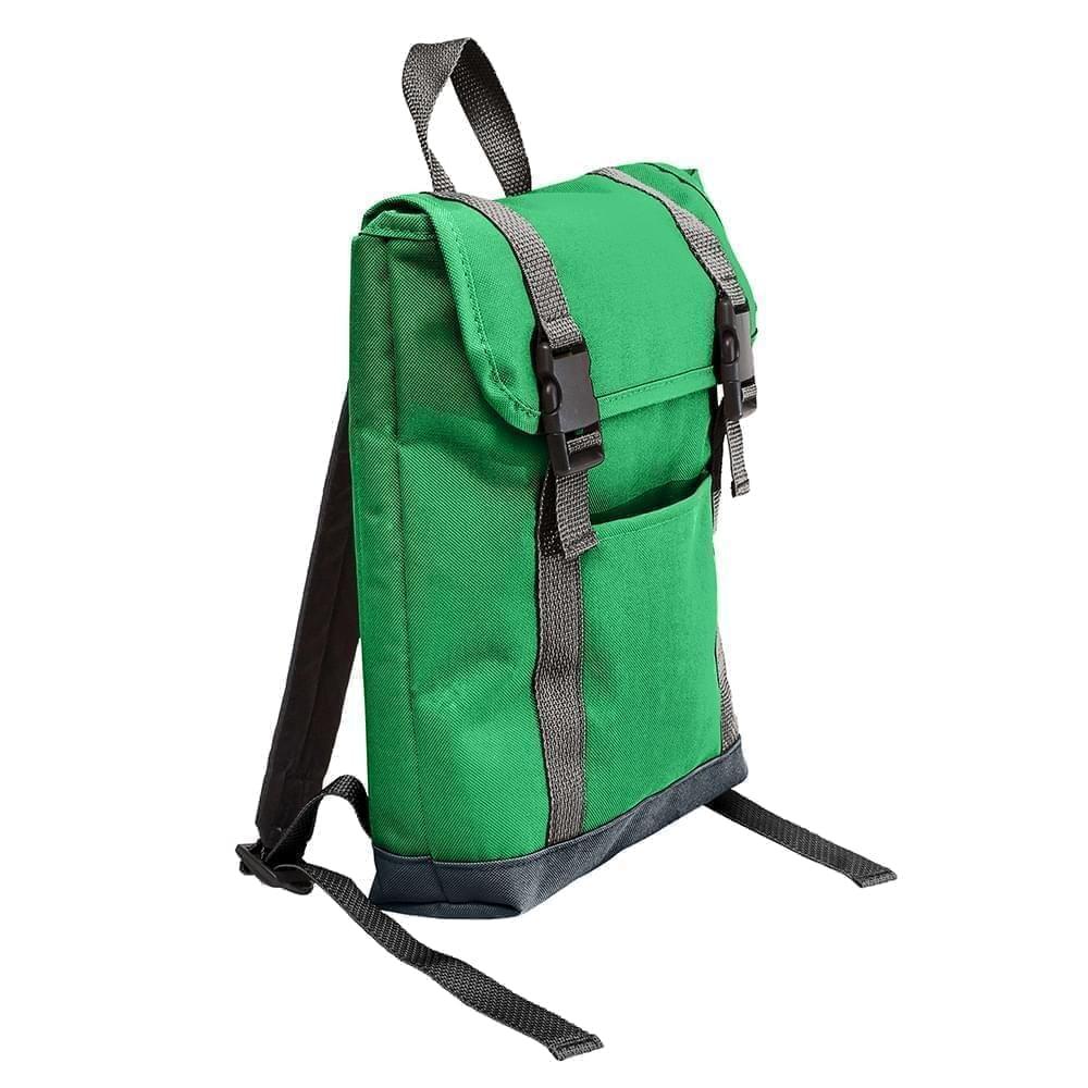 USA Made Poly Small T Bottom Backpacks, Kelly-Black, 2001921-ATR