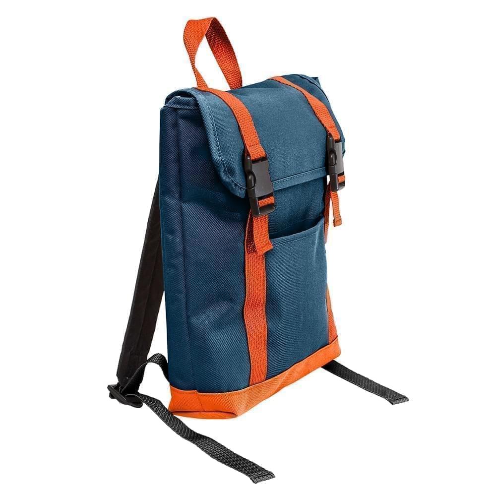 USA Made Poly Small T Bottom Backpacks, Navy-Orange, 2001921-AW0