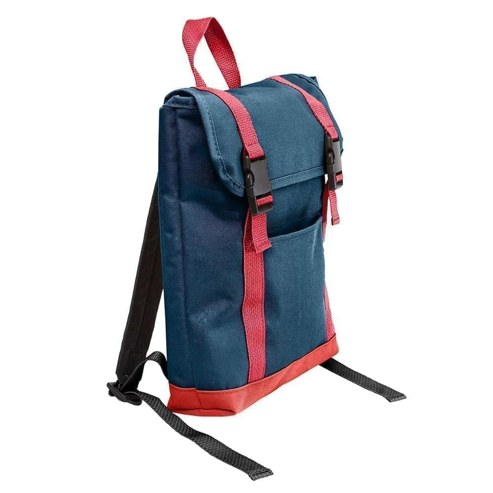 USA Made Poly Small T Bottom Backpacks, Navy-Red, 2001921-AW2