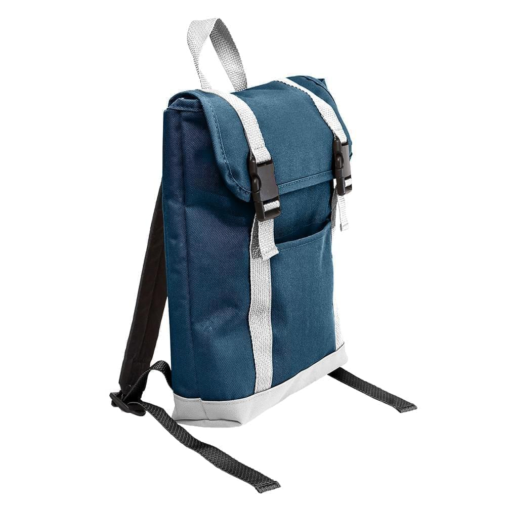 USA Made Poly Small T Bottom Backpacks, Navy-White, 2001921-AW4