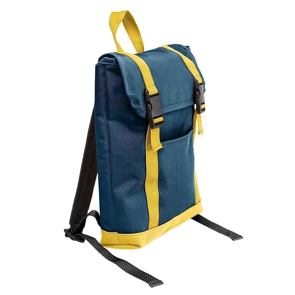 USA Made Poly Small T Bottom Backpacks, Navy-Gold, 2001921-AW5