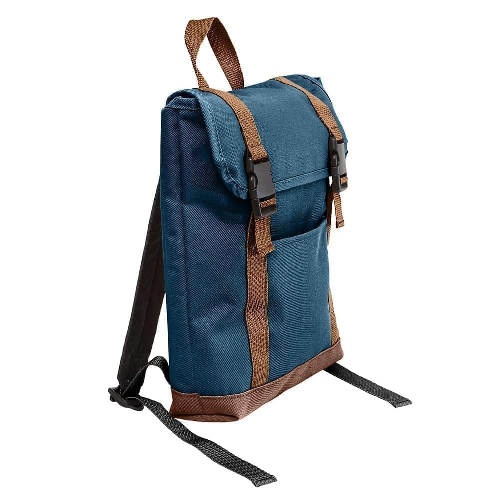 USA Made Poly Small T Bottom Backpacks, Navy-Brown, 2001921-AWS