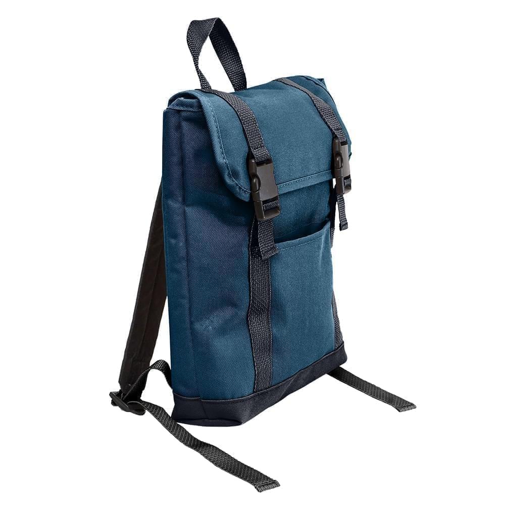 USA Made Poly Small T Bottom Backpacks, Navy-Graphite, 2001921-AWT