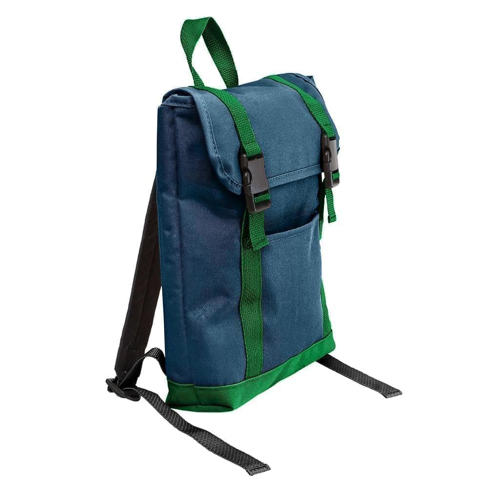 USA Made Poly Small T Bottom Backpacks, Navy-Kelly, 2001921-AWW