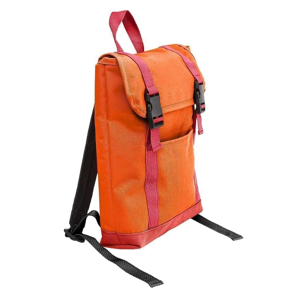 USA Made Poly Small T Bottom Backpacks, Orange-Red, 2001921-AX2
