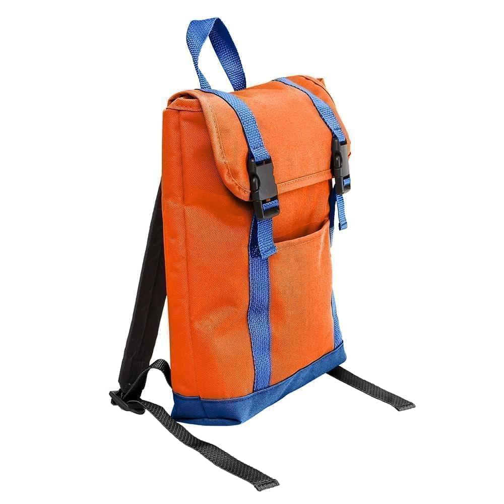 USA Made Poly Small T Bottom Backpacks, Orange-Royal, 2001921-AX3