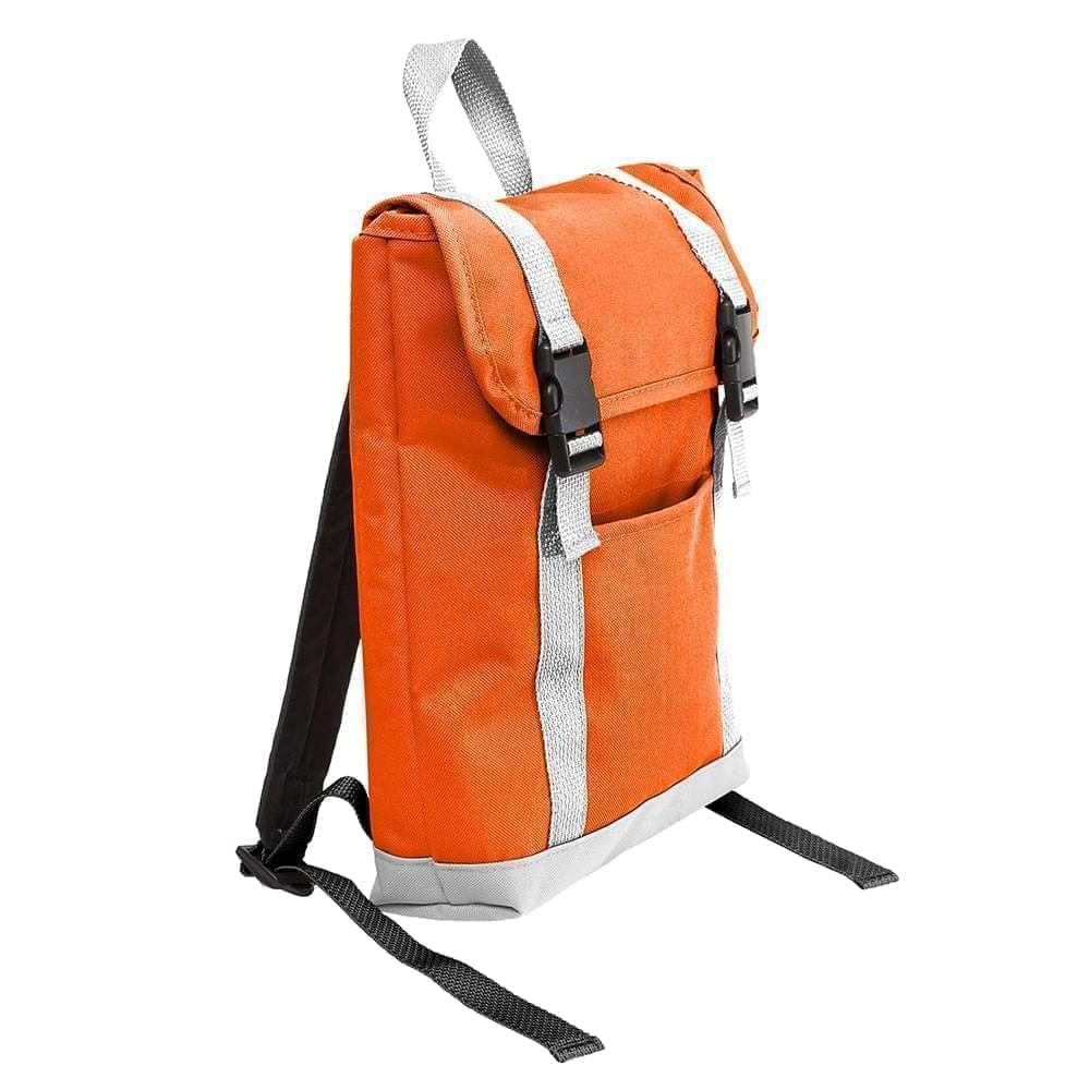 USA Made Poly Small T Bottom Backpacks, Orange-White, 2001921-AX4