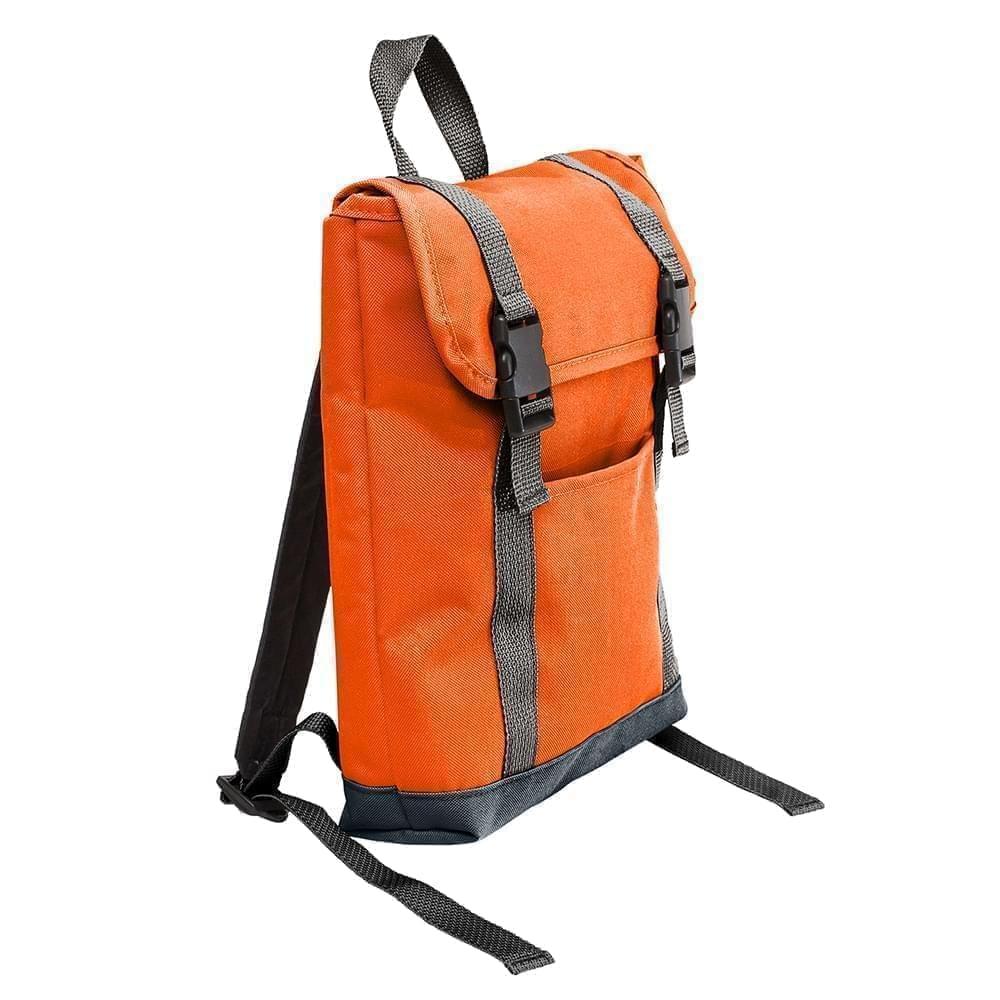 USA Made Poly Small T Bottom Backpacks, Orange-Black, 2001921-AXR