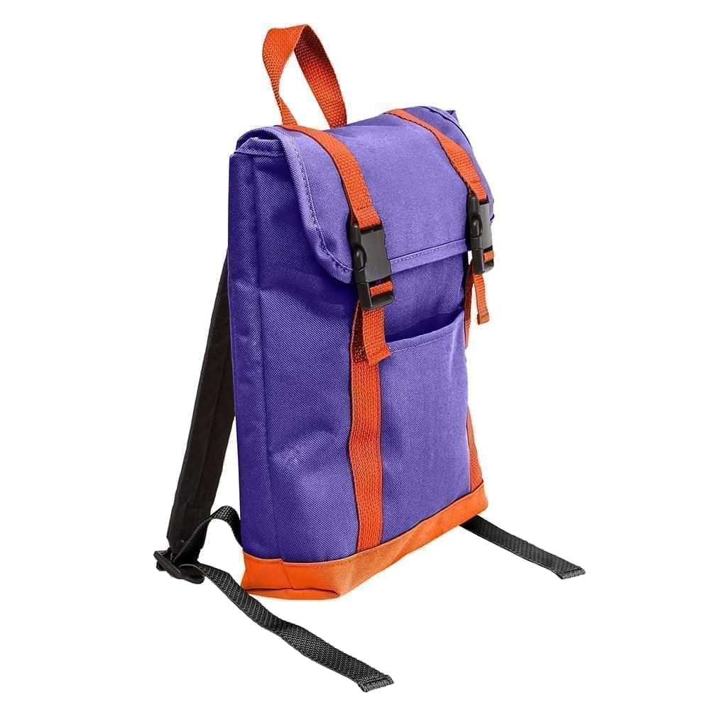 USA Made Poly Small T Bottom Backpacks, Purple-Orange, 2001921-AY0