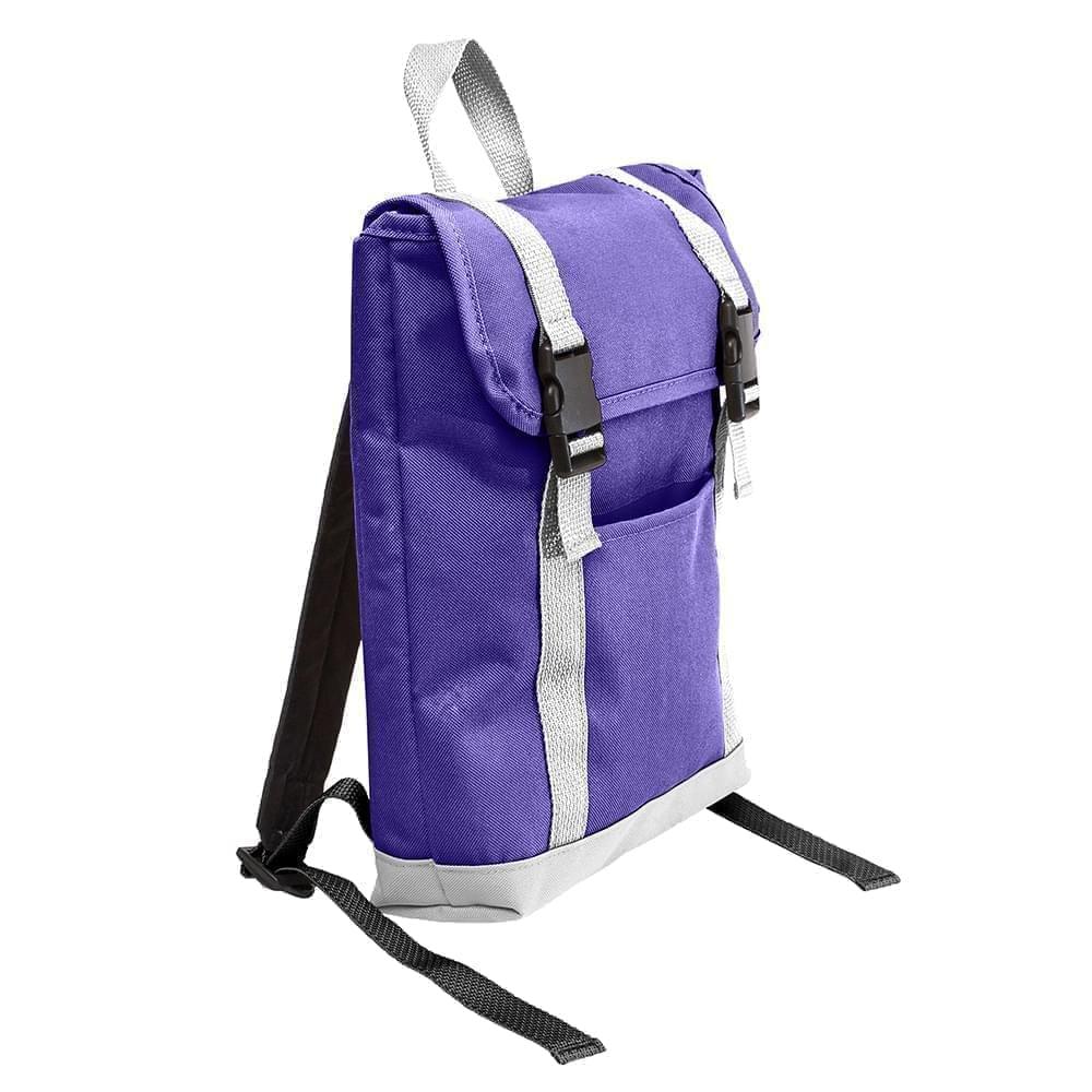 USA Made Poly Small T Bottom Backpacks, Purple-White, 2001921-AY4