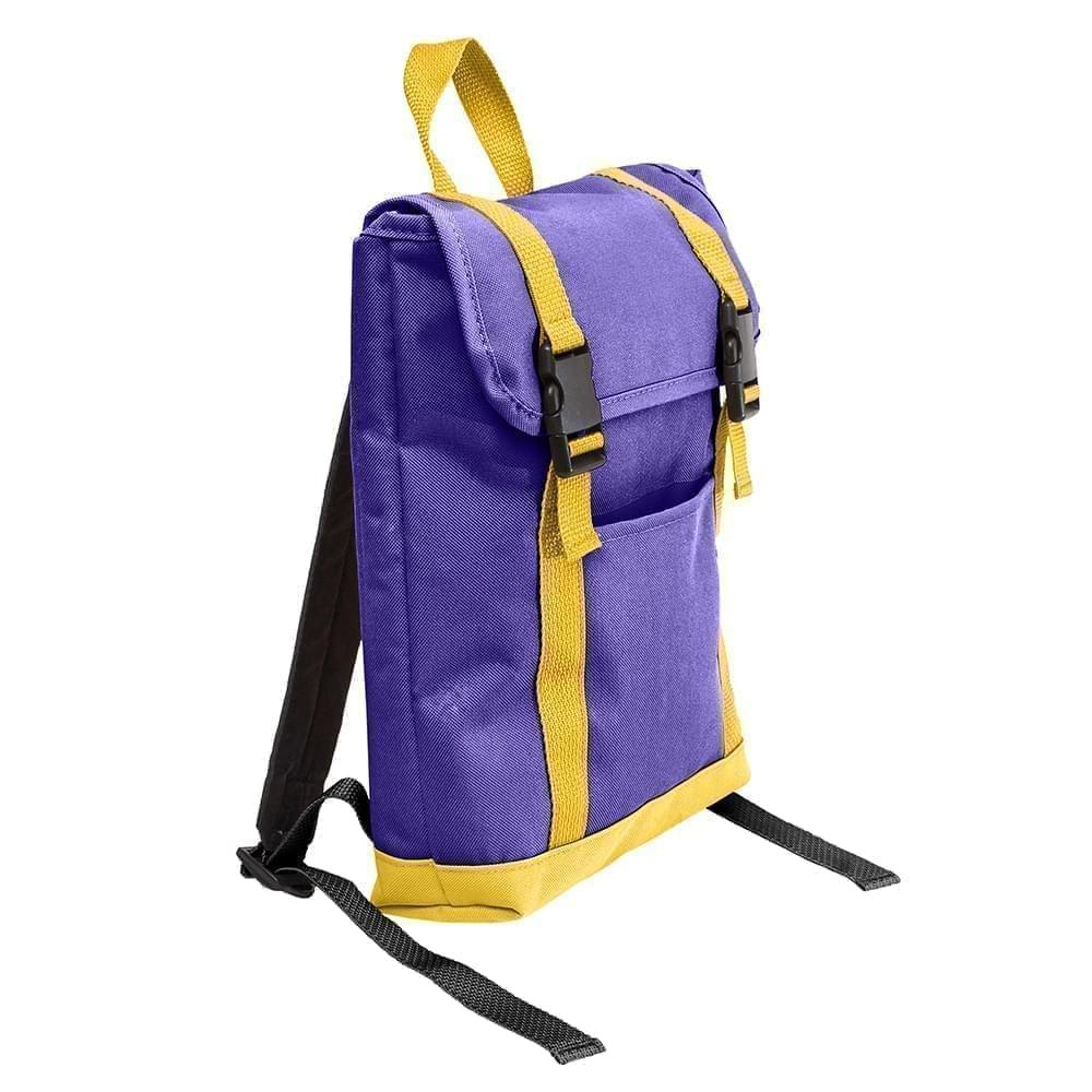 USA Made Poly Small T Bottom Backpacks, Purple-Gold, 2001921-AY5