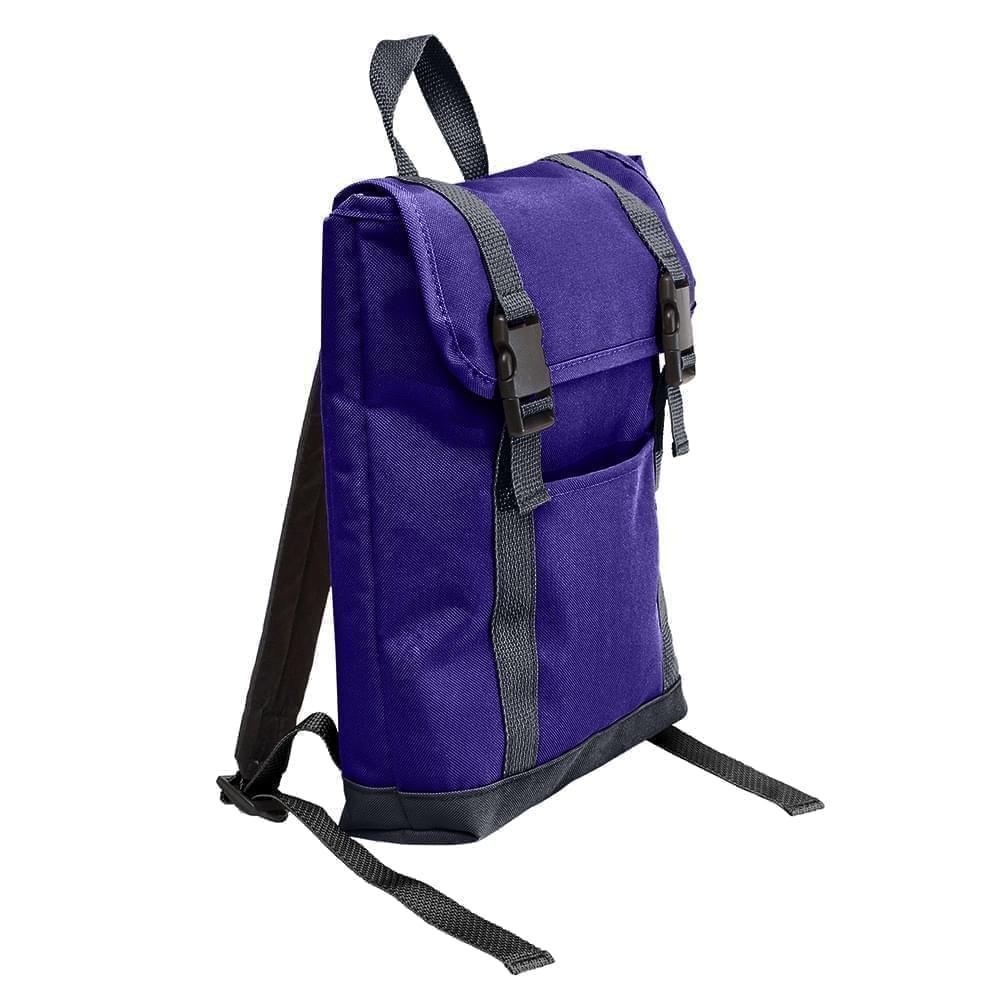 USA Made Poly Small T Bottom Backpacks, Purple-Graphite, 2001921-AYT
