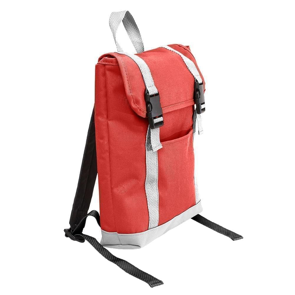 USA Made Poly Small T Bottom Backpacks, Red-White, 2001921-AZ4