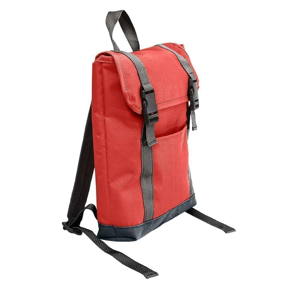 USA Made Poly Small T Bottom Backpacks, Red-Black, 2001921-AZR