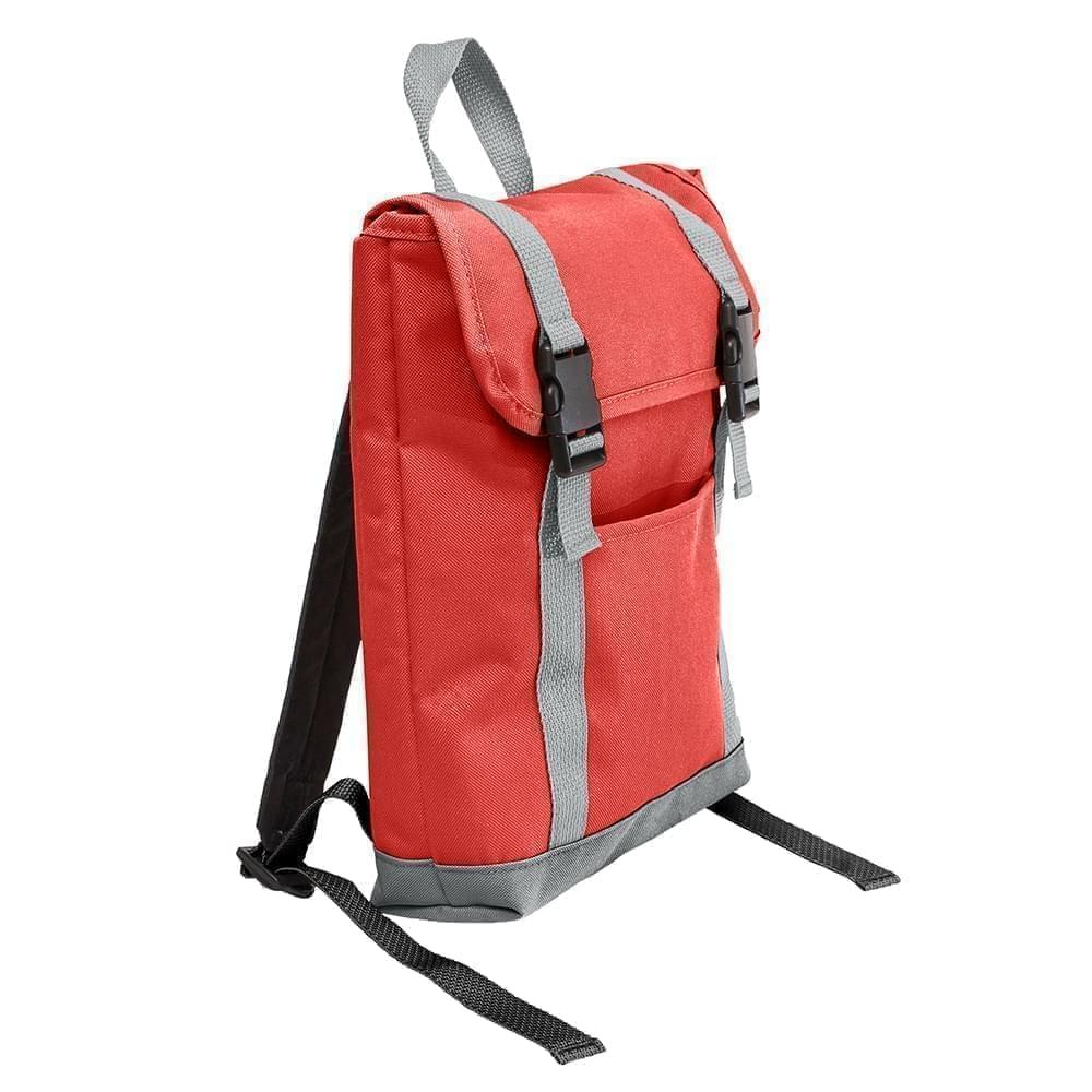 USA Made Poly Small T Bottom Backpacks, Red-Gray, 2001921-AZU