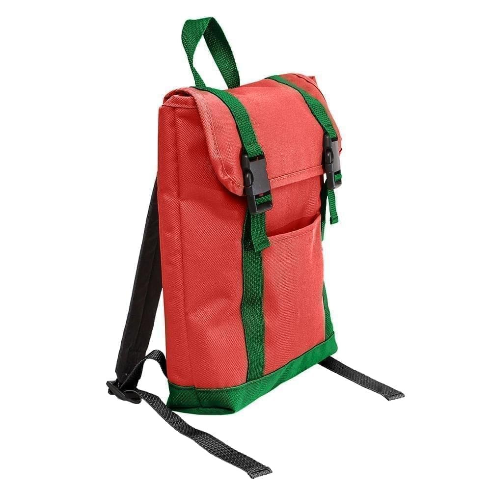 USA Made Poly Small T Bottom Backpacks, Red-Kelly, 2001921-AZW
