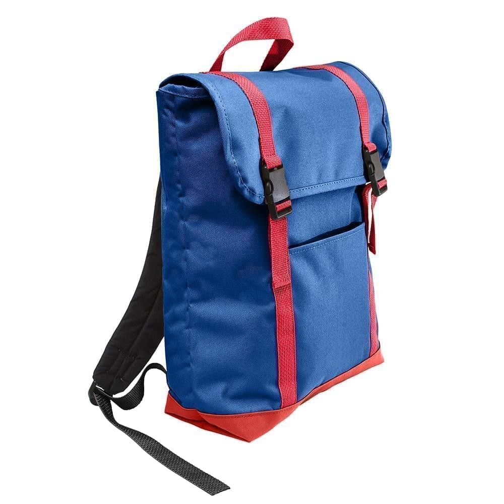 USA Made Poly Large T Bottom Backpacks, Royal-Red, 2001922-A02