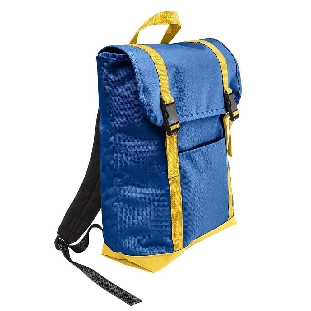 USA Made Poly Large T Bottom Backpacks, Royal-Gold, 2001922-A05