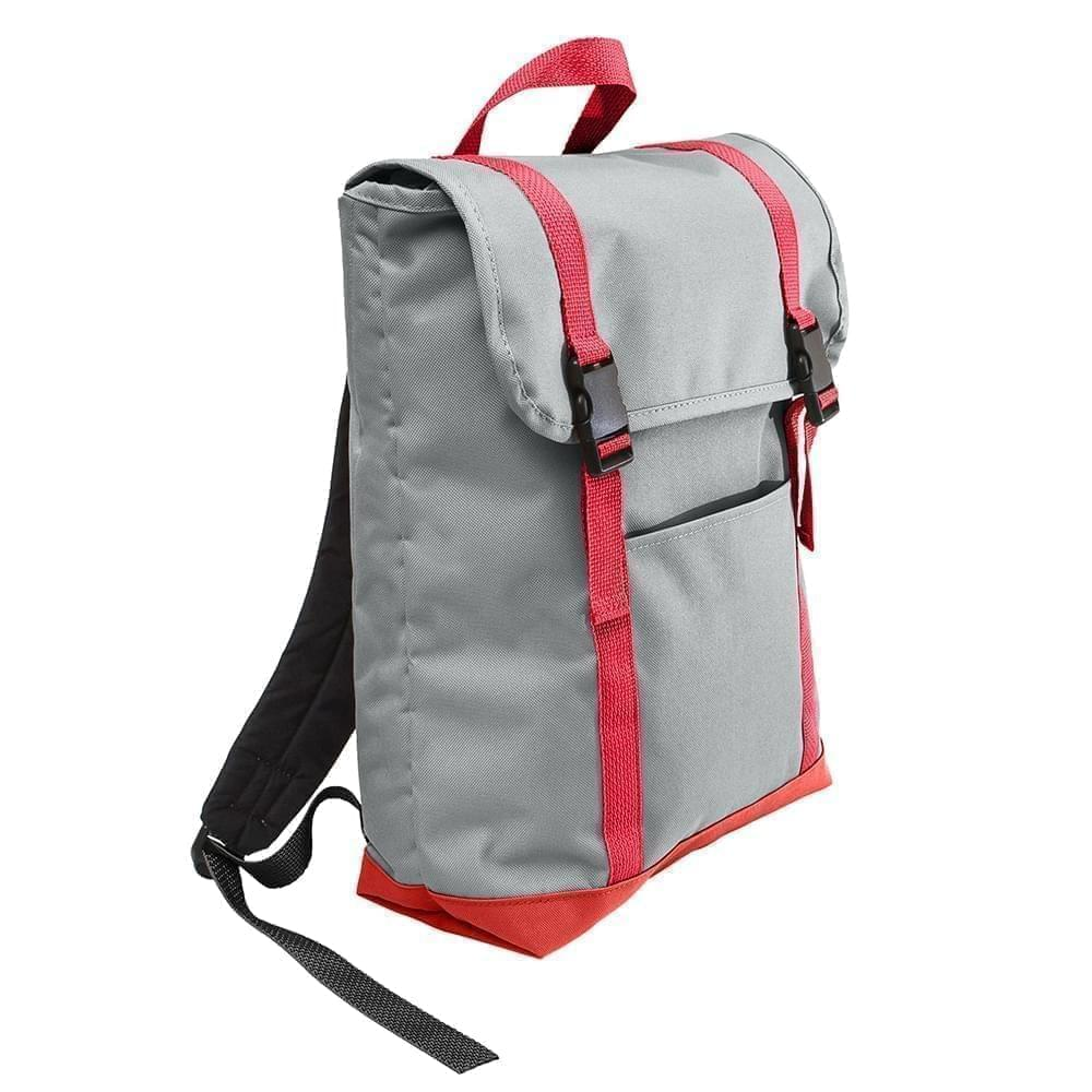 USA Made Poly Large T Bottom Backpacks, Gray-Red, 2001922-A12