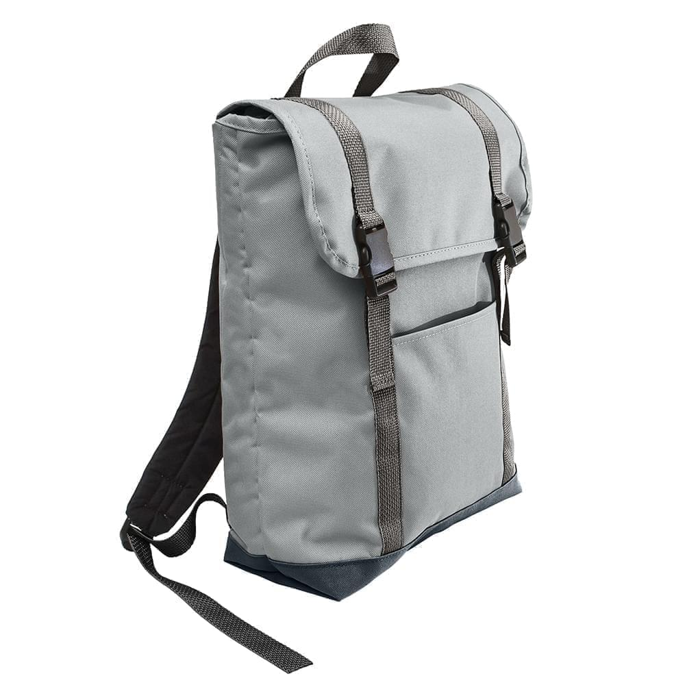 USA Made Poly Large T Bottom Backpacks, Gray-Black, 2001922-A1R